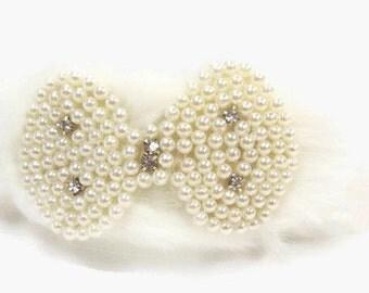 ON Sale, Faux Fur Pearl Headband - Wedding Fascinator Band - Winter Bride Hair Accent - White Fur Hair Accessory