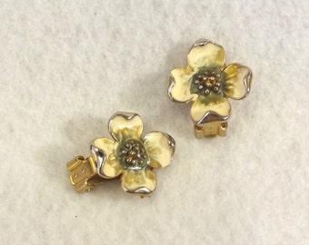 Vintage Trifari Clip Earrings – Enamel Flower Trifari Jewelry - Designer Earrings