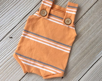 Orange and Gray Striped Buttoned Newborn Romper Overalls for Baby Boy - Ready to Ship - Fall, Autumn, Harvest, Pumpkin