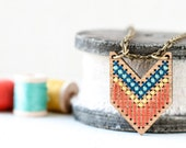 DIY Cross Stitch Kit, Wood Bamboo Pendant with Modern Hand Stitched Pattern, Chevron Necklace, Embroidery Kit, Southwest Inspired Jewelry