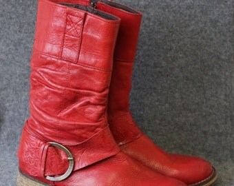 Vintage bright red distressed leather mid calf boots Size 37