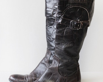 MANAS Italian vintage dark brown leather tall calf boots Size 38 US 8