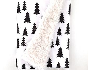 Baby Blanket Black Trees. The Cloud Blanket. Faux Fur Baby Blanket. Minky Baby Blanket. Black Tree Baby Blanket.