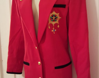 90's CREST RED BLAZER // I.B. Diffusion Lipstick Red Black Trim Blazer Long Suit Jacket Size 6 Preppy Chic Gold Buttons