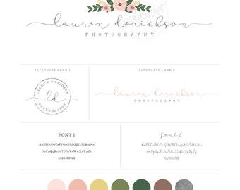 Watercolor Floral Logo design and Sub logo  - Calligraphy Logo - photography Logo - boutique logo
