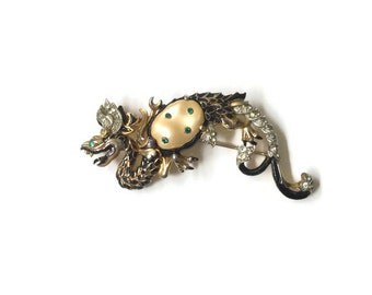 """Rare Vintage Trifari """"Ming Collection"""" Black Dragon with Baroque Pearl Belly"""