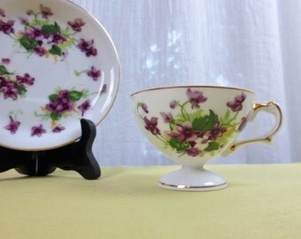 Norcrest Sweet Violets Tea Cup & Saucer Made in Japan Hand Painted Floral Bone China Tableware