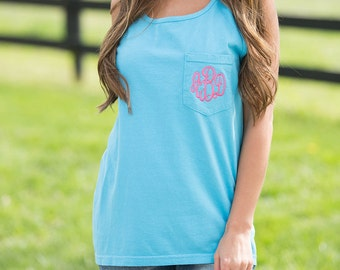 SALE Comfort Color Tank with Monogrammed Pocket, Comfort Colors Tank Top, Monogrammed Tank, Monogrammed Pocket, Bridesmaid Gift