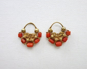 Antique 8K Gold Creolla Earrings with Corals from the Philippines