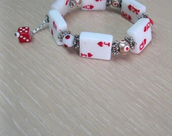 Hand Painted glass bead bracelet with  playing card tiles