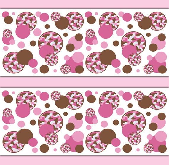 Pink camo polka dot wallpaper border decal girl camouflage nursery