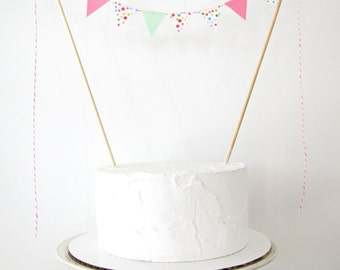 Sprinkles Cake Topper, Fabric Cake Bunting, Wedding, Birthday Party, Shower Decoration, pink mint multicolor dots ice cream candy shop