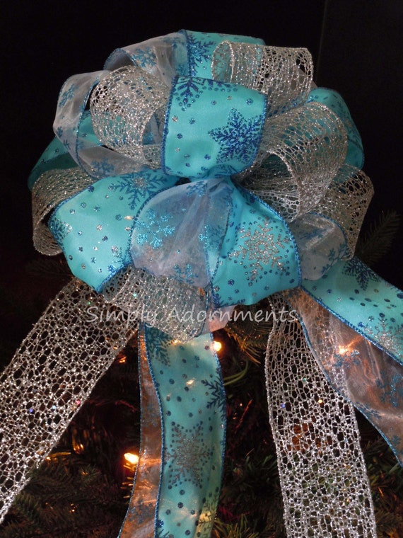 Turquoise Silver Snowflakes Christmas Bow Topper Blue Silver Snowflakes Tree Bow Frozen Christmas Tree Topper Bow Snowflakes Gift Bow