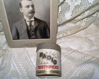 Vintage Radio Toothpicks of Radio Foods Corp. Lawrence, MA - Lawrence MA Vintage Radio Toothpicks Container - 1920's Lawrence, MA Toothpicks