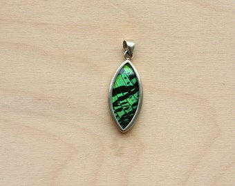 Butterfly Wing Pendant, Sterling silver butterfly pendant, Real Urania leilus Green-Banded Leilus Butterfly Wing Pendant Necklace Reversible