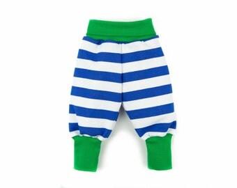 Baby boy clothes, organic baby pants, baby boy baggy pants, striped jersey pants boy, newborn baby boy pants, 100% organic cotton
