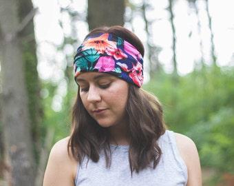 floral, tropical, bohemian, wide head wrap, hippie headband, yoga headscarf, women's accessories