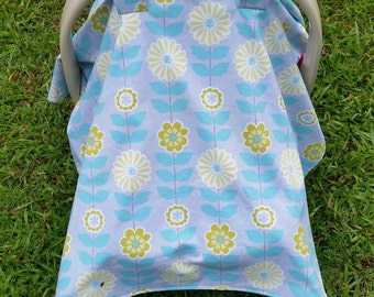 Baby Car Seat Cover in Gray and Mint Floral / Baby Girl Car Seat Cover / Mint Car Seat Canopy / Baby Girl Car Seat Tent / Floral Car Seat