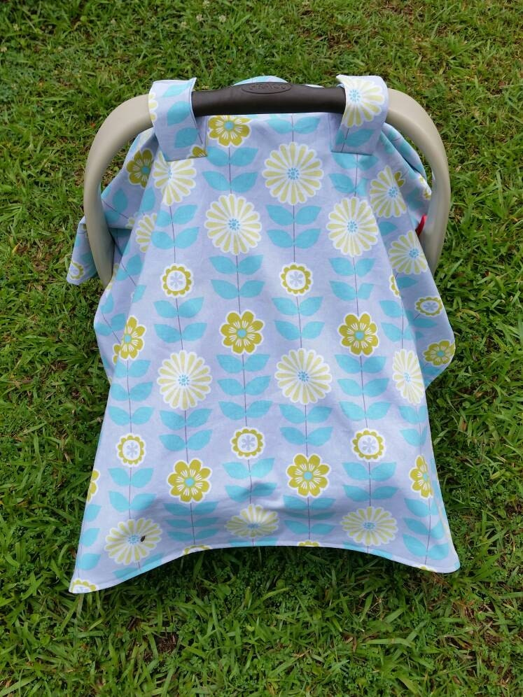 Car Seat Cover In Gray And Mint Floral Baby Girl Car Seat