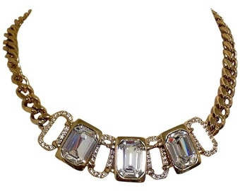 MINT. Vintage Givenchy gold tone chain statement necklace with crystal stones.  Gorgeous statement jewelry. Audrey Hepburn