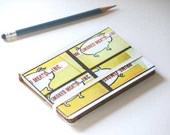 Upcycled Mini Journal- Meat Edition, Pocket Notebook