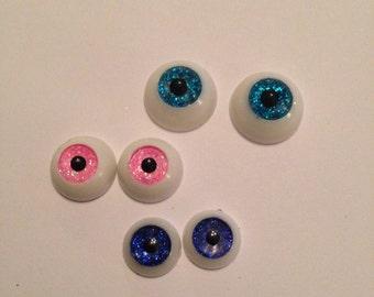 1 pair of Handmade BJD glitter eyes,  OOAK, 3 colours