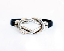 Silver knot nautical  leather bracelet, sailor knot, Men leather bracelet, gift for him, unisex