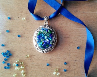 Pendant - blue-green bead embroidery choker with rhinestones and mixed beads