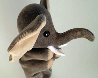 Asha, the elephant hand puppet gray handpuppet for children