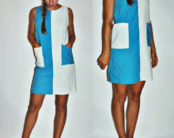 sale 1960s Inverted Blue White Two Tone Colorblock MOD Shift Dress