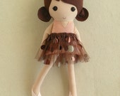 Fabric Doll Rag Doll Brown Haired Girl in Blush Pink Satin Dress with Brown Sequined Tulle Skirt