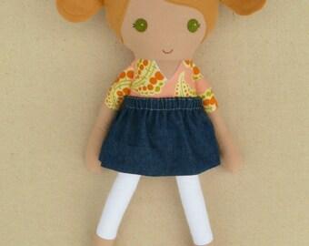 Fabric Doll Rag Doll Honey Blond Haired Girl in Peach Swirl Print Dress with Denim Skirt