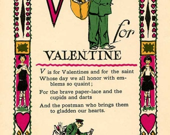 V is for Valentine! from Tony Sarg's Alphabet c.1926 Wonderful Illustration Page