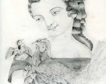 c.1875, American Folk Art, Original Antique Graphite Drawing, Young Girl with Birds, Possibly Based on Currier & Ives Lithograph, OOAK