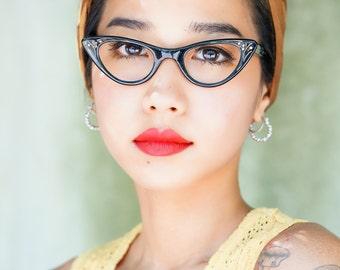 Vintage Eyeglass Cat eye glasses 1960's Frame Made In France Adorned with Rhinestones 42-22