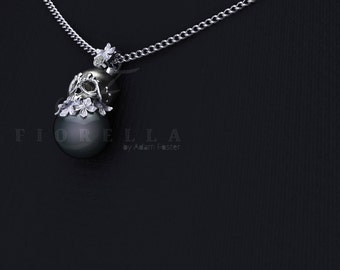 14K Gold Sugar Skull Black Pearl and Diamond Necklace