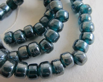 "9x7mm, Handmade Glass Crow Beads, Grey-Blue Luster - Available in 1/2 & Full (24"")  Strand Lengths and in Multi-Strand Pkgs"