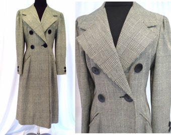 Black and White Hounds Tooth Checked  'Adele Simpson' 1970's does 1940's Long Coat with Wide Lapels, Bright Red Lining