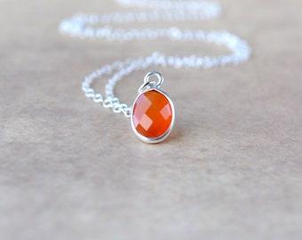 Carnelian Necklace, Dainty Sterling Silver Necklace, Orange Gemstone Necklace, Wife Gift Jewelry, Carnelian Pendant July Birthstone Necklace