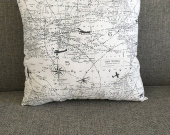 "Travel, Maps, Navigation Pillow in Gray with Chevron Backing - ""Great Adventure Pillow 14x14"""