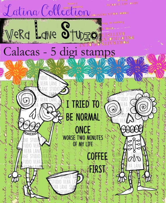 Calacas - 5 digi stamp bundle in jpg and png files