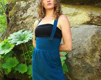 Suspender dress-Jumper Dress-cute dresses-jumper skirt-high waisted skirt dress-teal dress-boho chic-festival dress-womens jumper-dresses