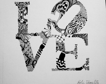 LOVE Black and White Zentangle Print 8x8