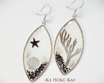 Black Sand Clear See Through Beach Earrings, resin earrings, seashell, silver coral, Sterling silver earrings