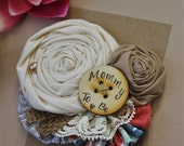 Mommy to be Pin // Rustic Burlap Pink + Grey Baby Shower Pin // Ready to Ship