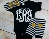 Monogram Baby Girl Clothes Black Gold Glitter Personalized 3 White Monogram Initials Gold Bow Headband Heart Leg Warmer Baby Girl Outfit