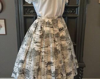 50s Novelty Hawaiian Print Cotton Skirt