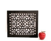 Architectural Salvage Wall Art - Antique Cast Iron Floor Grate - Black - Flor de Lis Pattern - Repurposed Art - Cross Motif