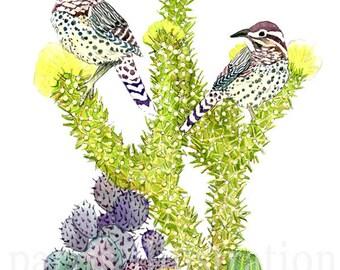 Cactus Wren No.1, Archival Print of Original Watercolor, you choose size