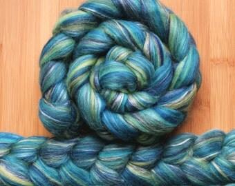 "Merino Silk 'GLISTEN Roving' in ""Aqua Spring"" colorway - Green, turquoise, blue, white blends - Spinning Felting Braid Fiber"
